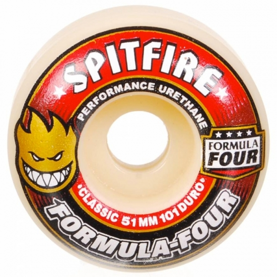 Spitfire Wheels  (51-52mm 101a) Formula Four Classic White